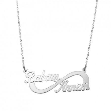 Tesbihane - 925 Ayar Gümüş İsim Yazılı Sonsuz Kolye (Model 3)