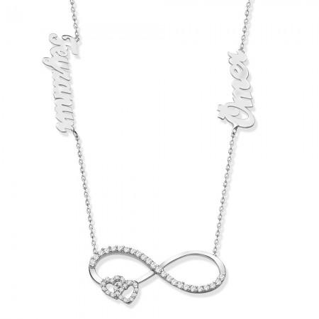 - 925 Ayar Gümüş İsim Yazılı Sonsuzluk Kalp Model Kolye