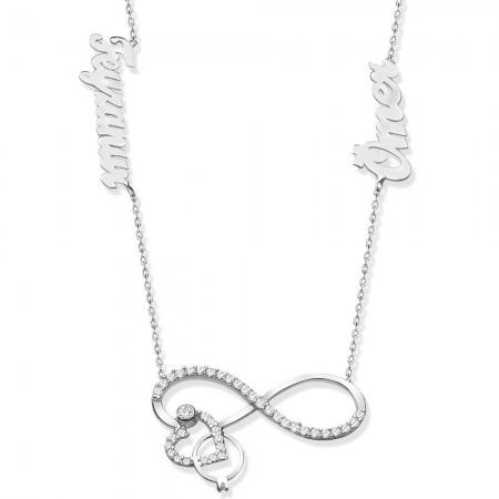 Tesbihane - 925 Ayar Gümüş İsim Yazılı Sonsuzluk Kalp Yüzük Model Kolye