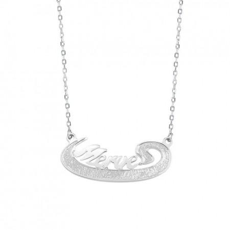 Tesbihane - 925 Ayar Gümüş İsim Yazılı Vav Kolye