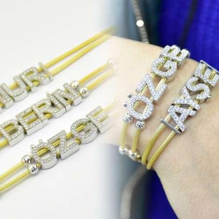 Tesbihane - Kişiye Özel İsim Yazılı Zirkon Taşlı 925 Ayar Gümüş Bayan Bileklik