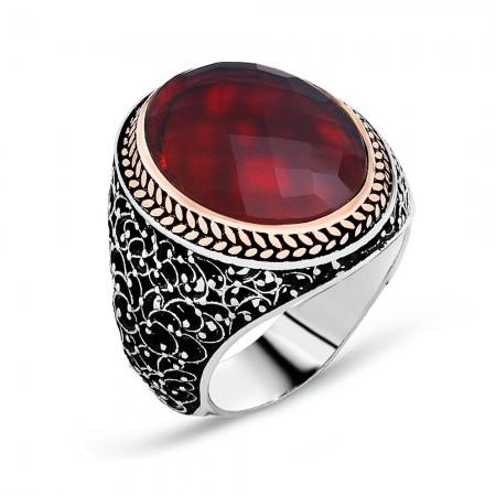 - 925 Ayar Gümüş İşleme Desenli Kırmızı Zirkon Taşlı Yüzük