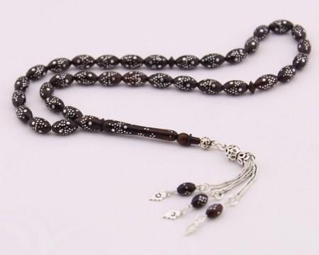 Tesbihane - 925 Ayar Gümüş İşlemeli Arpa Kesim Kuka Tesbih