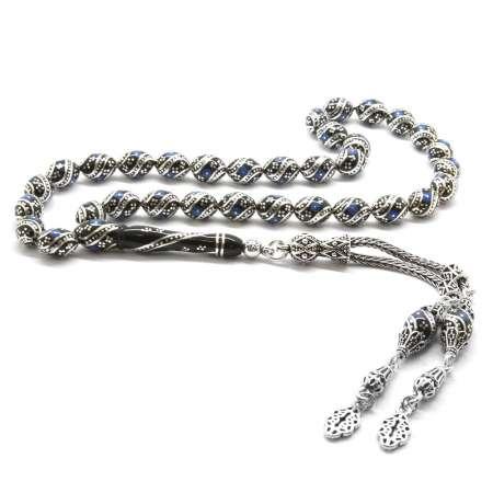 Tesbihane - 925 Ayar Gümüş Püsküllü Gümüş-Firuze İşlemeli Arpa Kesim Erzurum Oltu Taşı Tesbih (M-4)