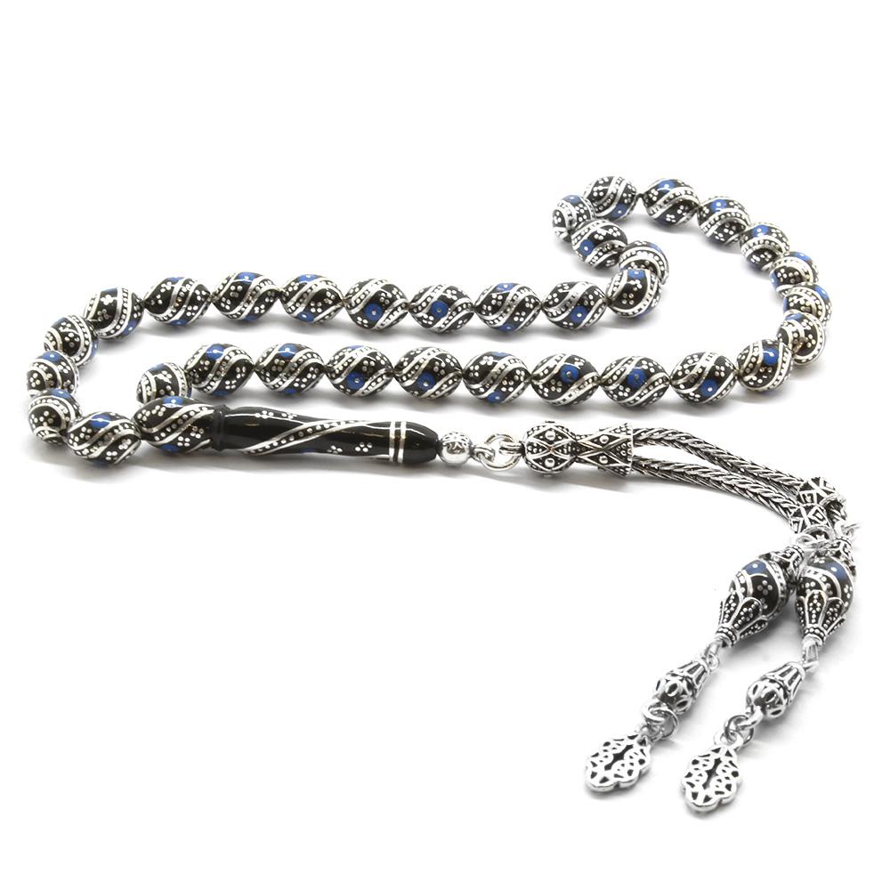 925 Ayar Gümüş Püsküllü Gümüş-Firuze İşlemeli Arpa Kesim Erzurum Oltu Tesbih(M4)