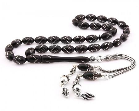 - 925 Ayar Gümüş İşlemeli Sıkma Kehribar Tesbih
