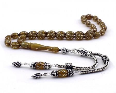Tesbihane - 925 Ayar Gümüş İşlemeli Sıkma Kehribar Tesbih