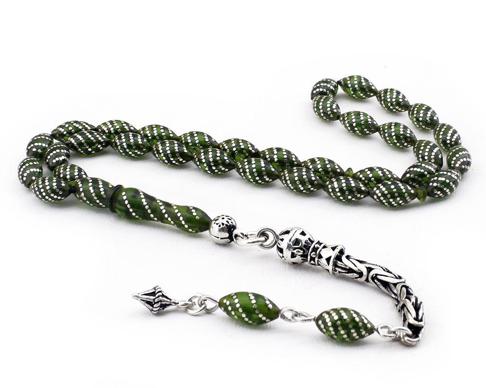 925 Ayar Gümüş İşlemeli Sıkma Kehribar Tesbih (yeşil)