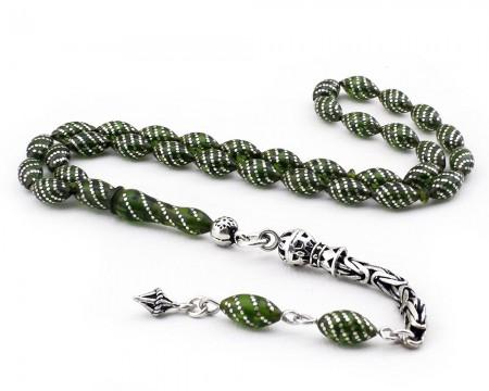 Tesbihane - 925 Ayar Gümüş İşlemeli Sıkma Kehribar Tesbih (yeşil)