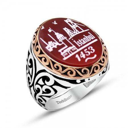 Tesbihane - 925 Ayar Gümüş İstanbul 1453 Desenli Akik Taşlı Yüzük