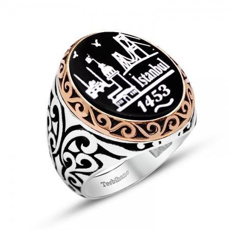 Tesbihane - 925 Ayar Gümüş İstanbul 1453 Desenli Oniks Taşlı Yüzük