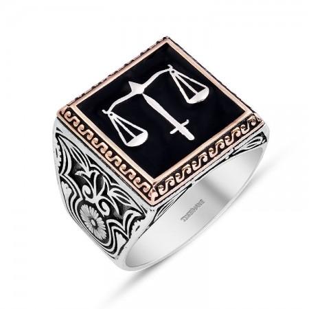 - 925 Ayar Gümüş Kaçak Dizisi Adalet Yüzüğü (EY-ADALET)