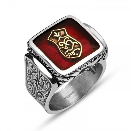 925 Ayar Gümüş Kademi Şerif Kırmızı Mineli Özel Tasarım Yüzük - Thumbnail