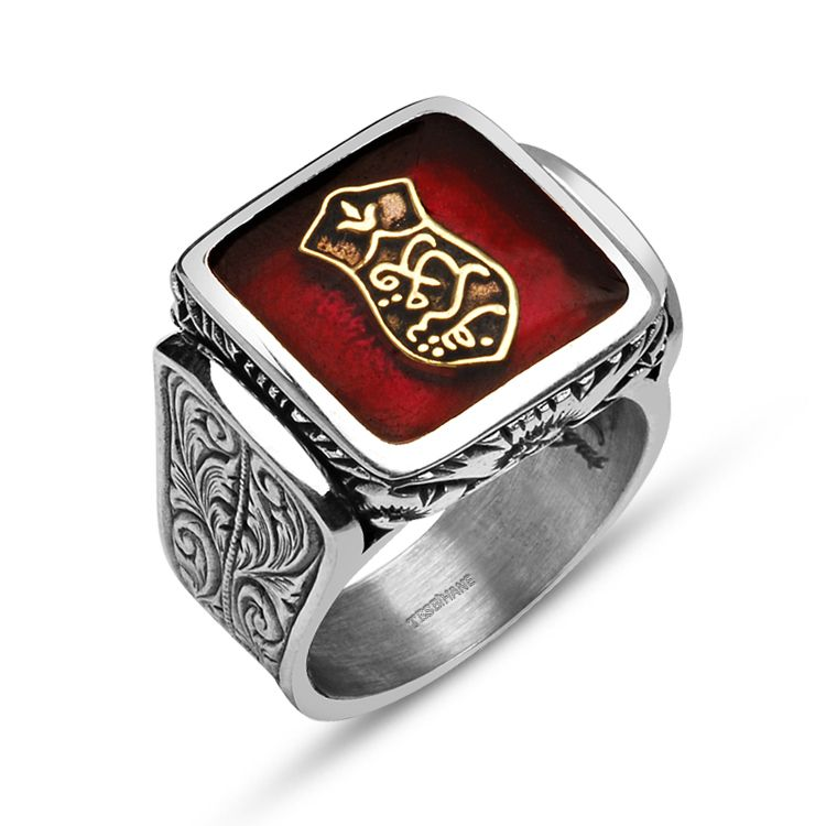925 Ayar Gümüş Kademi Şerif Kırmızı Mineli Özel Tasarım Yüzük