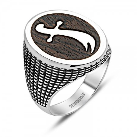 - 925 Ayar Gümüş Kahverengi Kalp Ağacı Kılıç Yüzük