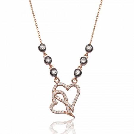 Tesbihane - 925 Ayar Gümüş Kalbim Kalbinde Kolye