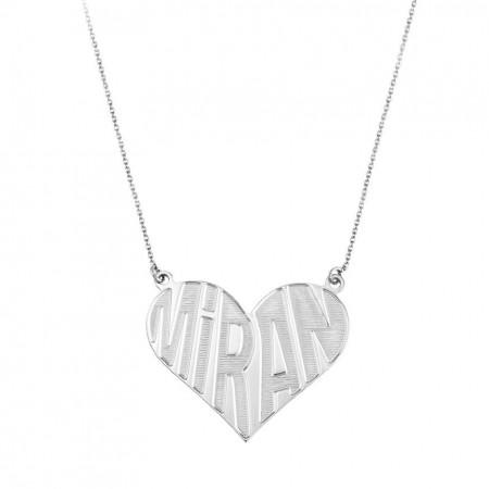 Tesbihane - 925 Ayar Gümüş Kalbime İsmini Yazdım Kolye