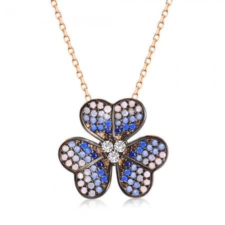 Tesbihane - 925 Ayar Gümüş Kalbimin Çiçeği Kolye