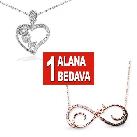 - 925 Ayar Gümüş Kalbimin Gülü ve Sonsuz Aşk Kolye