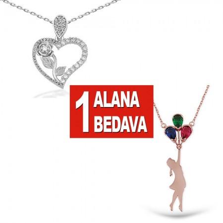 - 925 Ayar Gümüş Kalbimin Gülü ve Uçan Balon Kolye