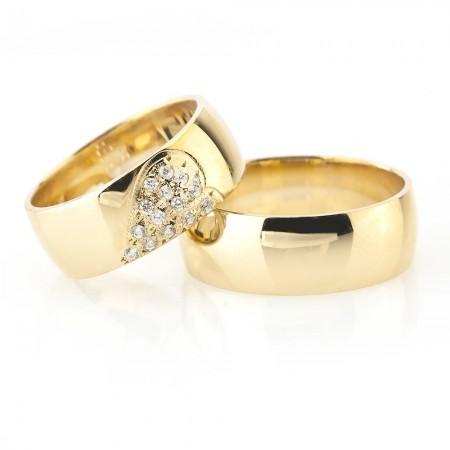 - Kalbimin Sahibi Tasarım Gold Renk 925 Ayar Gümüş Çift Alyans