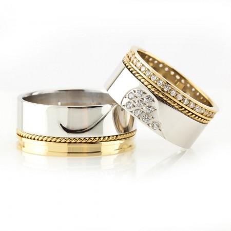 Tesbihane - Kalbimin Sahibi ve Örgü Tasarım 925 Ayar Gümüş Çift Alyans