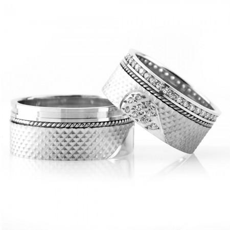 - 925 Ayar Gümüş Kalbimin Sahibi Çift Alyans - Model 4