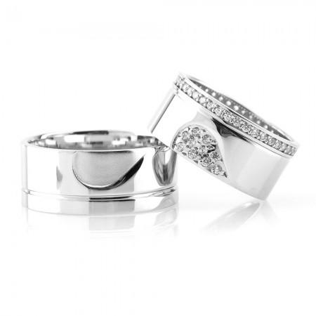 Tesbihane - Kalbimin Sahibi Tasarım 925 Ayar Gümüş Çift Alyans