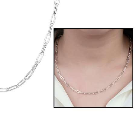 Tesbihane - 925 Ayar Gümüş Kalın Forse Bayan Zincir Kolye