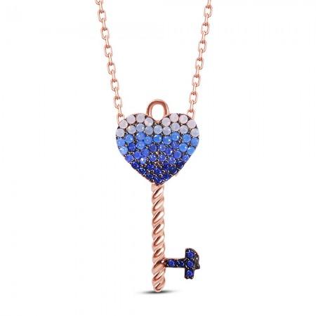 Tesbihane - 925 Ayar Gümüş Kalp Anahtarı Kolye