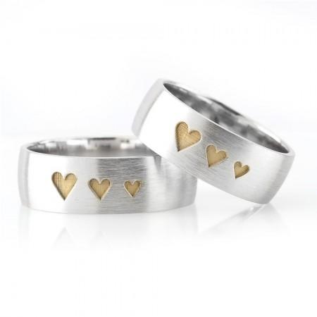 Tesbihane - Üç Kalp Tasarım 925 Ayar Gümüş Çift Alyans