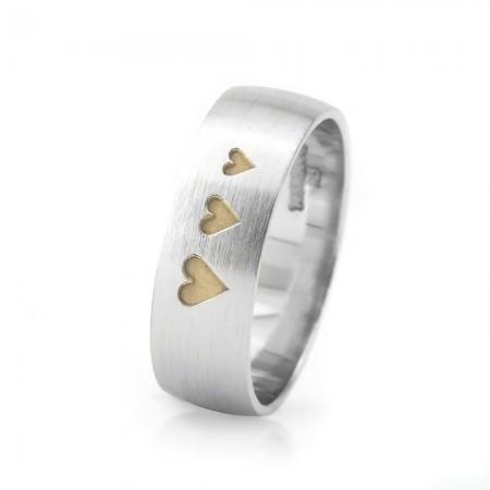 - Üç Kalp Tasarım 925 Ayar Gümüş Erkek Alyans