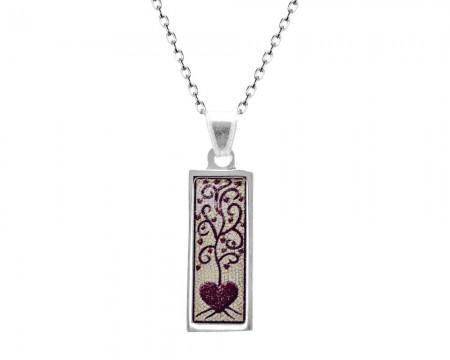 Tesbihane - 925 Ayar Gümüş Kalp Desenli Kolye