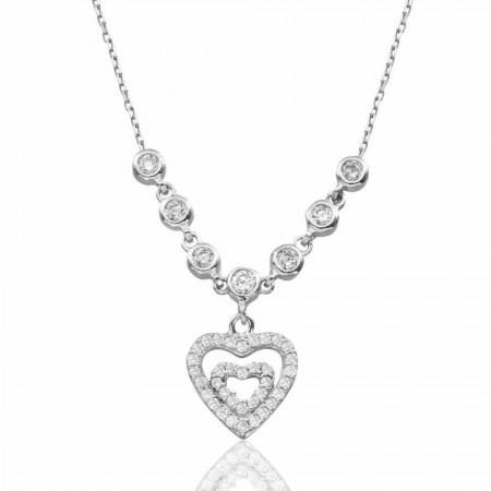 Tesbihane - 925 Ayar Gümüş Kalp İçinde Kalp Kolye