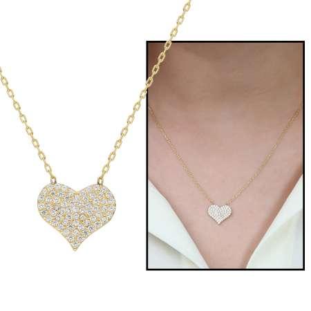 Tesbihane - Beyaz Zirkon Taşlı Kalp 925 Ayar Gümüş Bayan Kolye