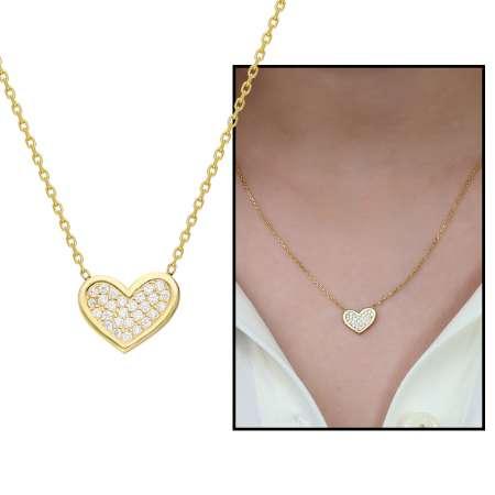Tesbihane - Beyaz Zirkon Taşlı Kalp Tasarım 925 Ayar Gümüş Bayan Kolye