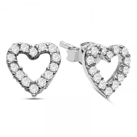 Tesbihane - 925 Ayar Gümüş Kalp Küpe