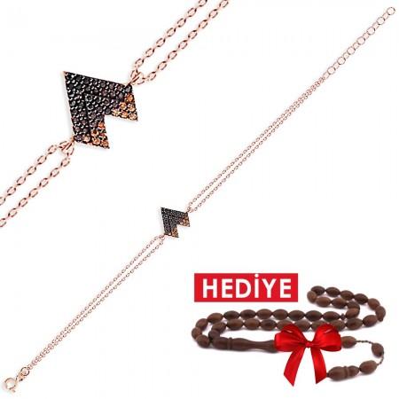 - 925 Ayar Gümüş Kalp Model Bileklik (Hediyeli)