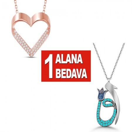 - 925 Ayar Gümüş Kalp ve Elif Vav Kolye