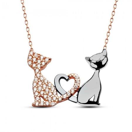 Tesbihane - 925 Ayar Gümüş Kalp ve Kedi Tasarım Kolye
