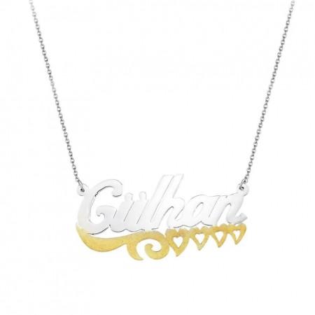 Tesbihane - Dört Kalp Tasarım Kişiye Özel İsim Yazılı 925 Ayar Gümüş Bayan Kolye