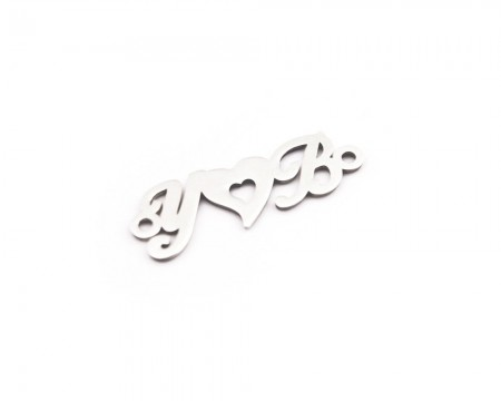 Tesbihane - Kişiye Özel Harfli Kalp Motifli 925 Ayar Gümüş Püskül Ucu