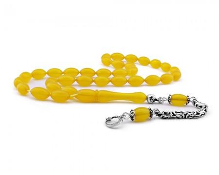 Tesbihane - 925 Ayar Gümüş Kamçılı Ayyıldız Püsküllü Sarı Sıkma Kehribar Tesbih