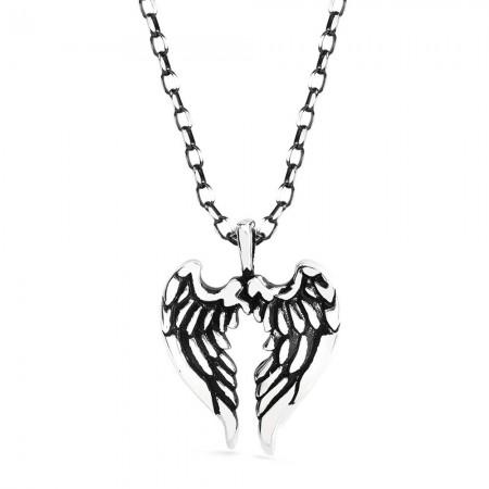 - Çift Kanat Tasarım 925 Ayar Gümüş Erkek Kolye