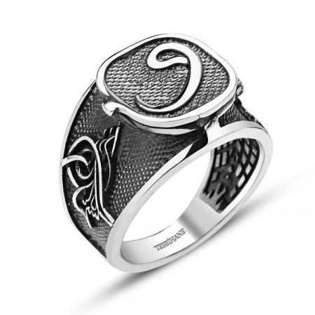 Tesbihane - 925 Ayar Gümüş Kapaklı Vav Yüzük