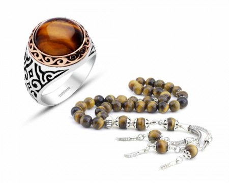 Tesbihane - 925 Ayar Gümüş Kaplan Gözü Doğaltaş Yüzük Tesbih Kombini