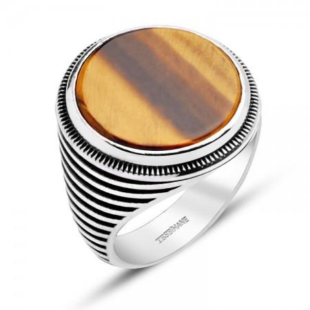 Tesbihane - 925 Ayar Gümüş Kaplan Gözü Taşlı Oval Model Yüzük
