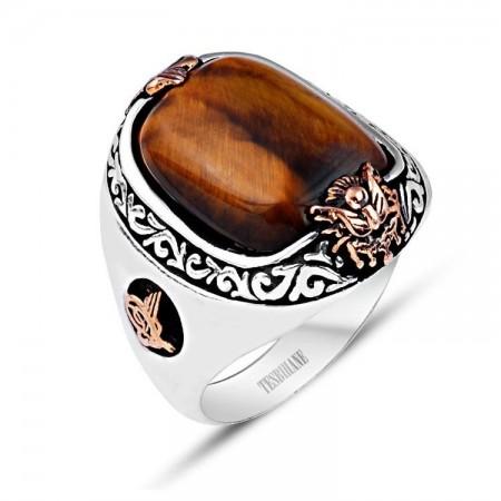925 Ayar Gümüş Kaplangözü Doğaltaşlı Özel Tasarım Yüzük - Thumbnail