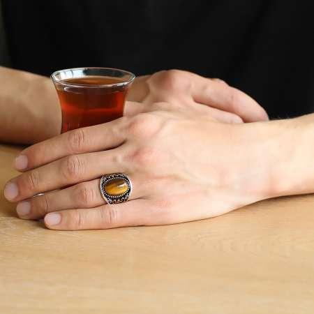 Motifli Oval Kaplangözü Taşlı 925 Ayar Gümüş Erkek Yüzük - Thumbnail