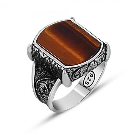 925 Ayar Gümüş Kaplangözü Taşlı Yüzük - Thumbnail